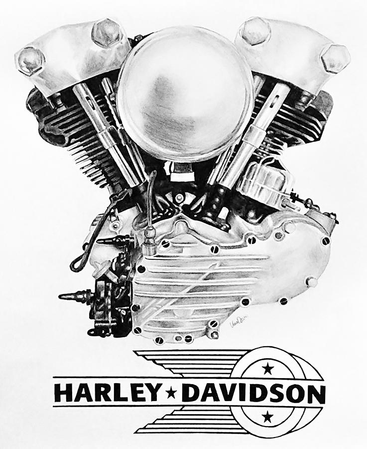 Knucklehead Harley Engine Drawing By Ursa Davis