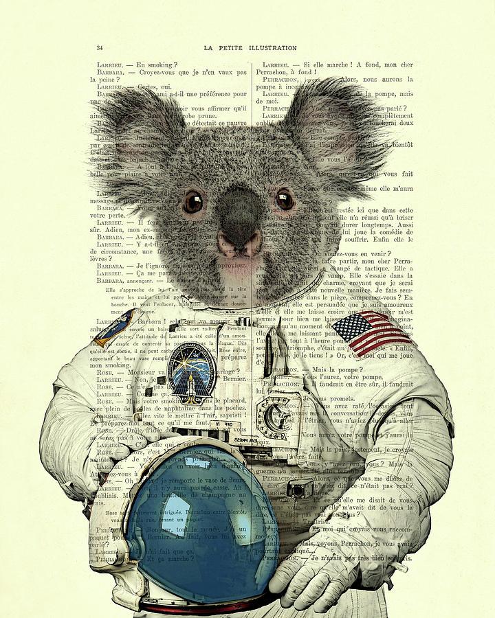 Astronaut Digital Art - Koala In Space Illustration by Madame Memento