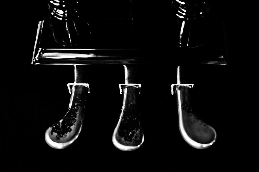 Piano Photograph - Kohler And Cambell Pedals Black And White by Sam Hymas