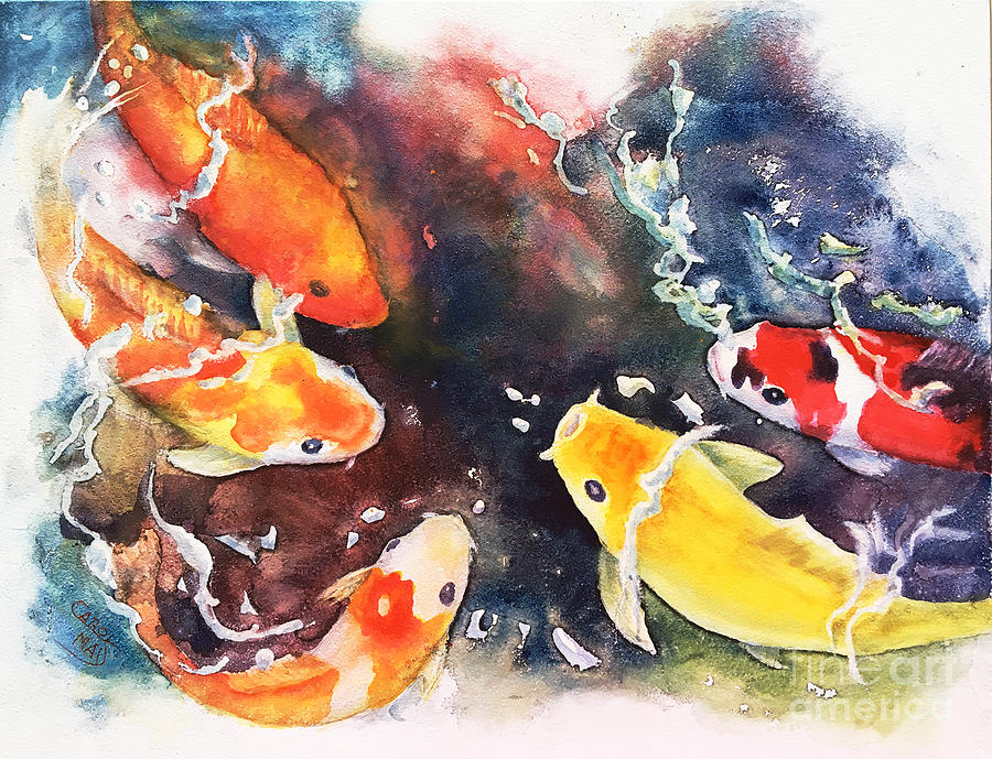 Koi Painting - Koi Challenge by Art by Carol May