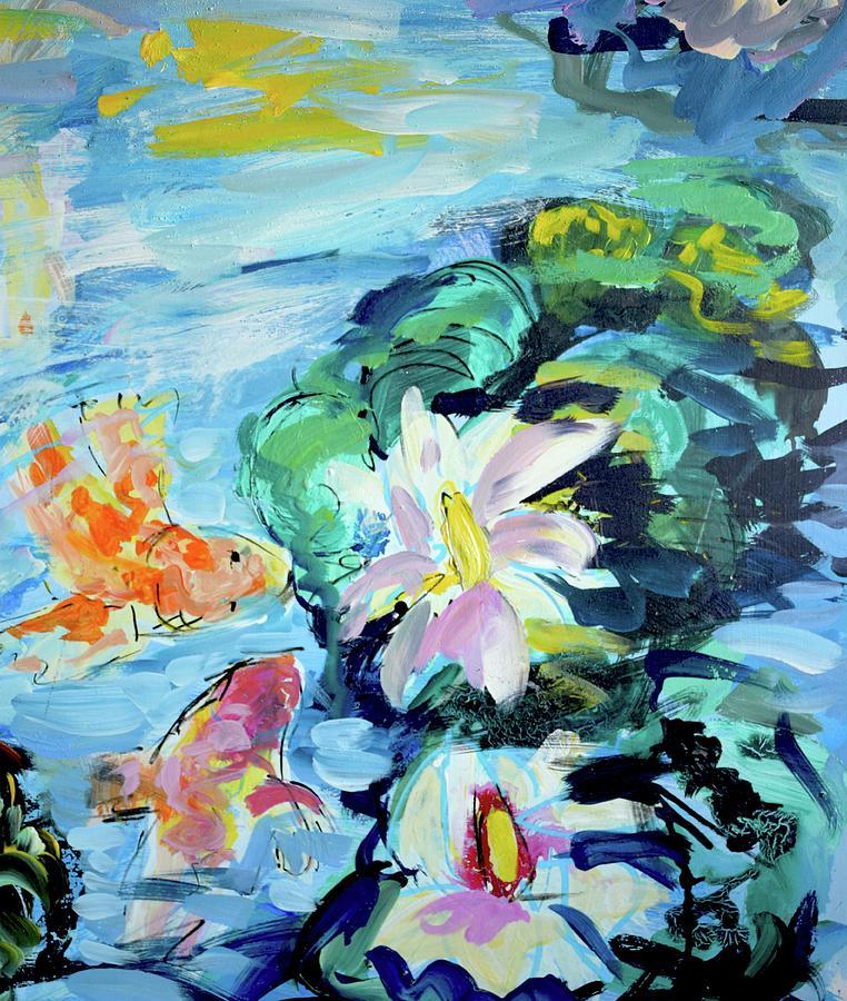 Koi Fish Painting - Koi Fish And Water Lilies by Amara Dacer