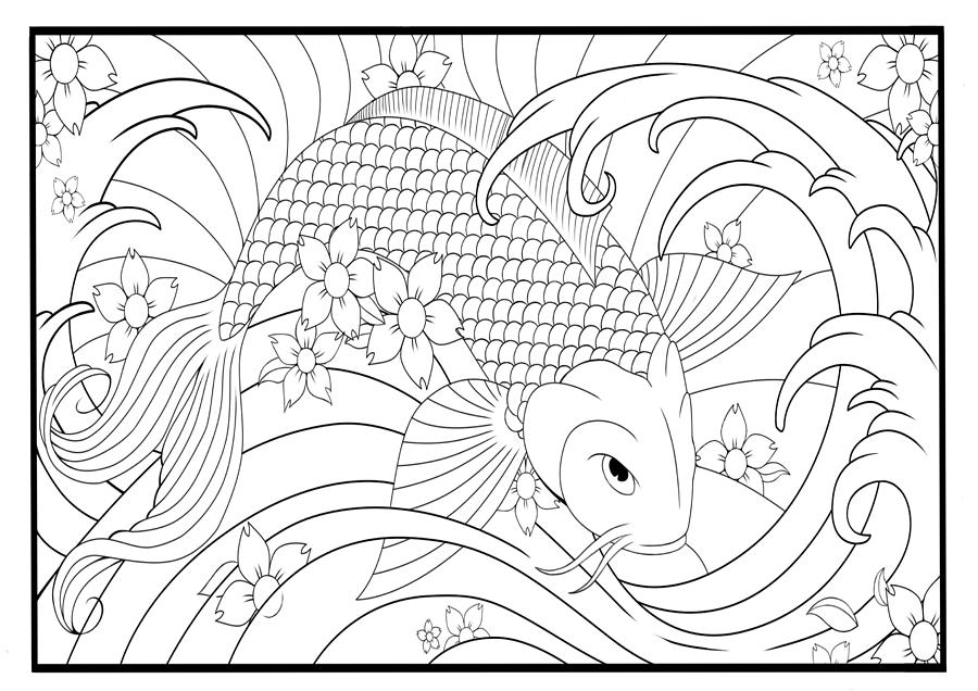 koi fish coloring page 28 images printable fish coloring pages