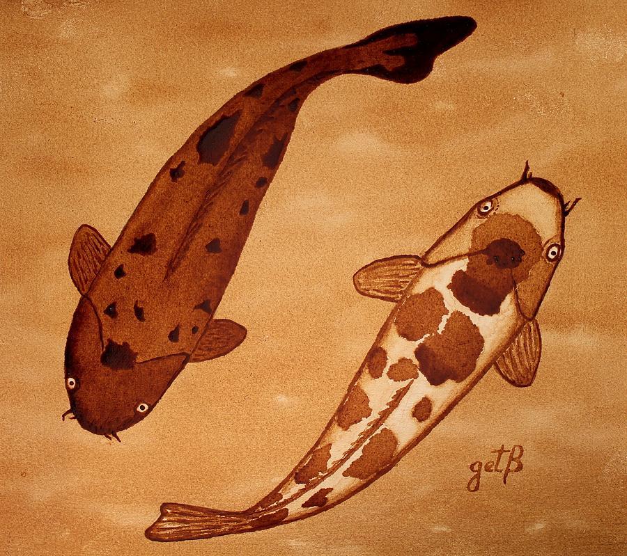 Koi Fish Feng Shui Painting by Georgeta  Blanaru