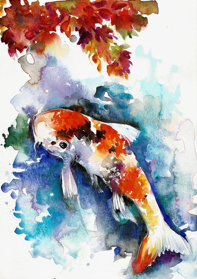 Watercolor Koi Fish Koi Fish In The Pond -...