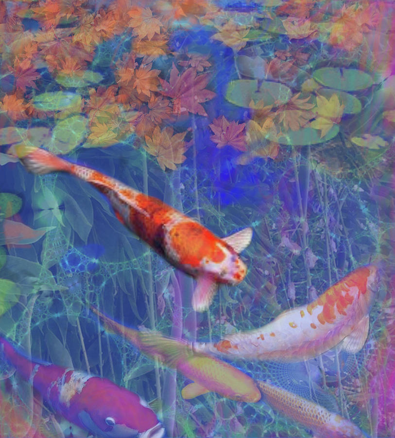Koi fish pond japanese tea garden painting by julianne ososke for Koi japanese art