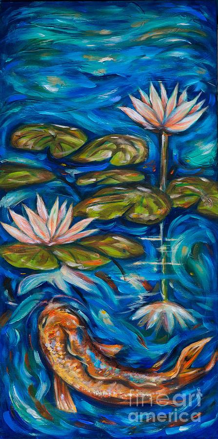Koi Flower Reflection Painting By Linda Olsen