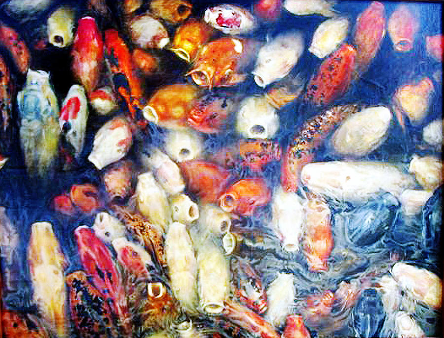Fish Painting - Koi In The Hourglass by Riek  Jonker