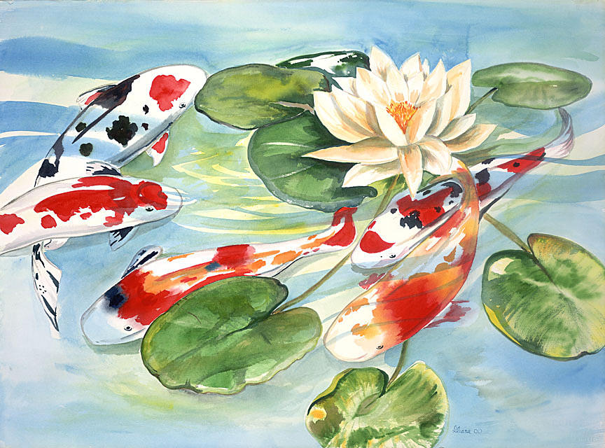 Nature Pond With Koi Painting - Koi In The Water Lilies by Ileana Carreno