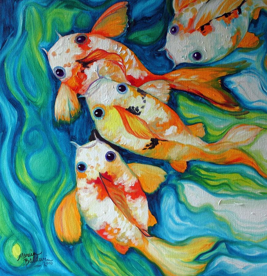 Fish Painting - Koi Inny Minny Miney Moe by Marcia Baldwin