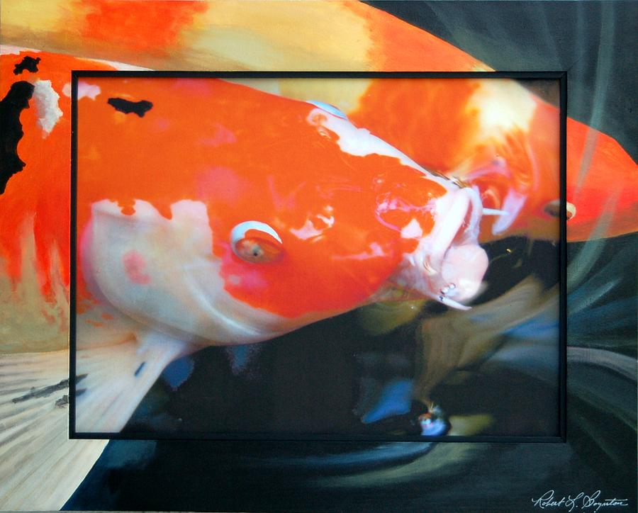 Koi Mixed Media - Koi Kiss by Robert Boynton