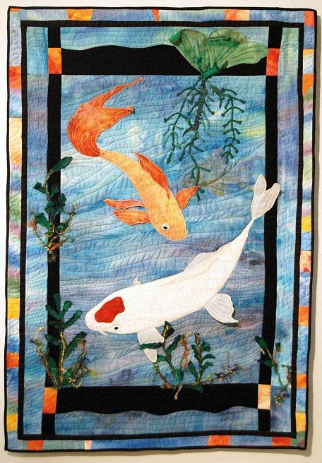Art Quilt Tapestry - Textile - Koi Pond by Dolores Fegan