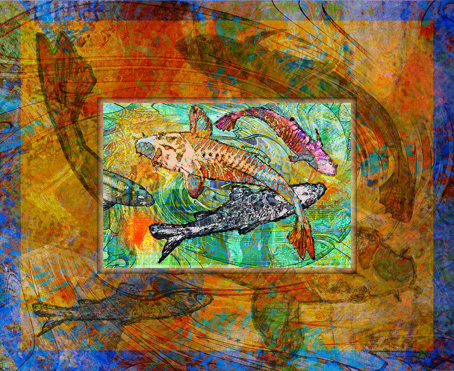 Koi Digital Art - Koi Pond by Mary Ogle