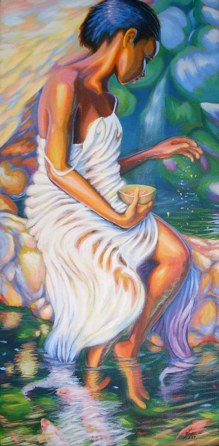 Koi Fish Painting - Koi Princess by Lowell Royer