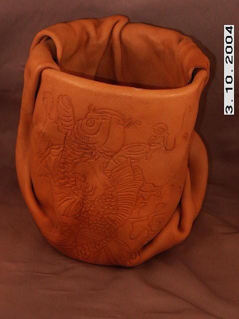 Leather Drawing - Koi by Richard  Eluk