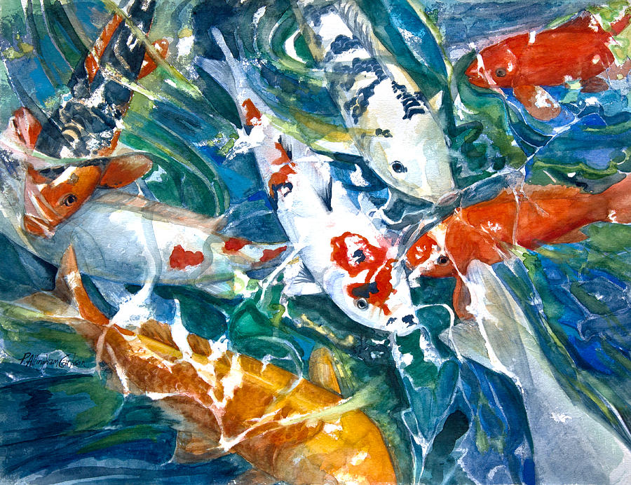 Watercolor Painting - Koi Sparkle by Patricia Allingham Carlson