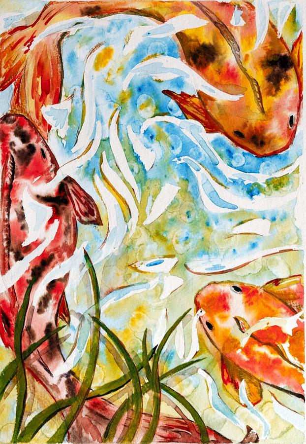 Fish Painting - Koi by Starr Weems