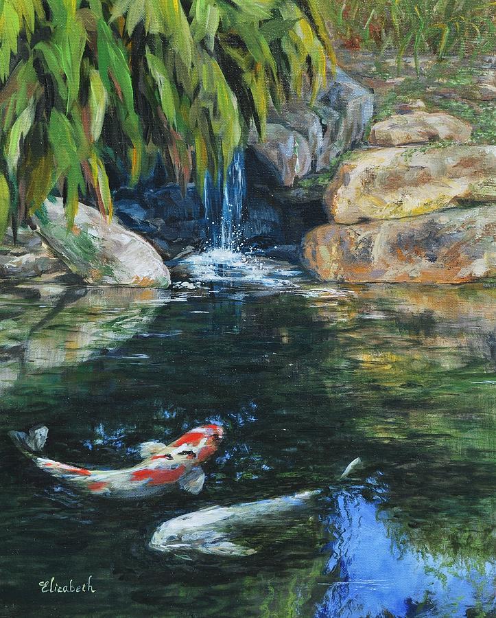 Koi Painting - Koi Under The Waterfall by Beth Maddox