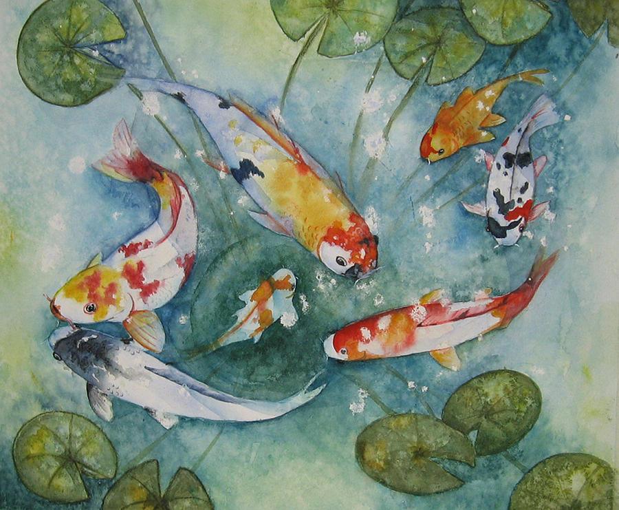 Koi Painting - Koi  With Lilies by Gina Hall