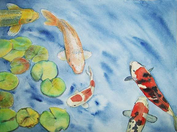 Koi Painting - Koi With Lily Pads by Carmen Durden
