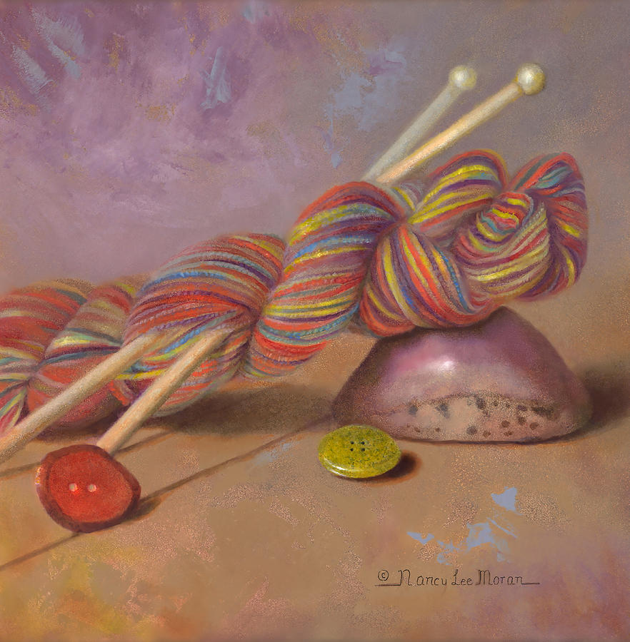 Knitting Painting - Koigu Yarn With Buttons by Nancy Lee Moran