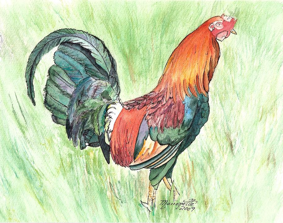 Roosters Painting - Kokee Rooster by Marionette Taboniar