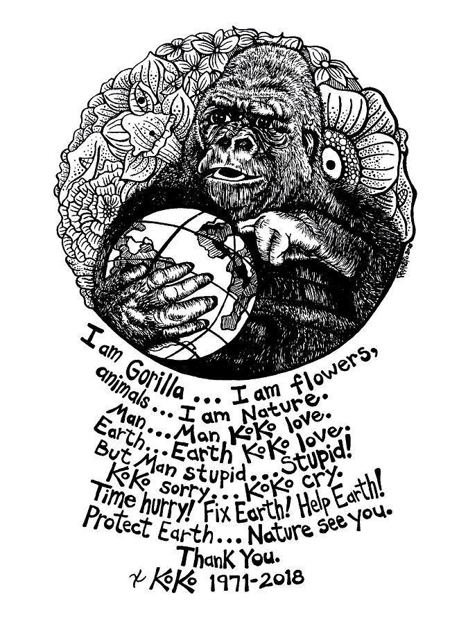 Pen And Ink Drawing - Koko Tribute Drawing by Rick Frausto