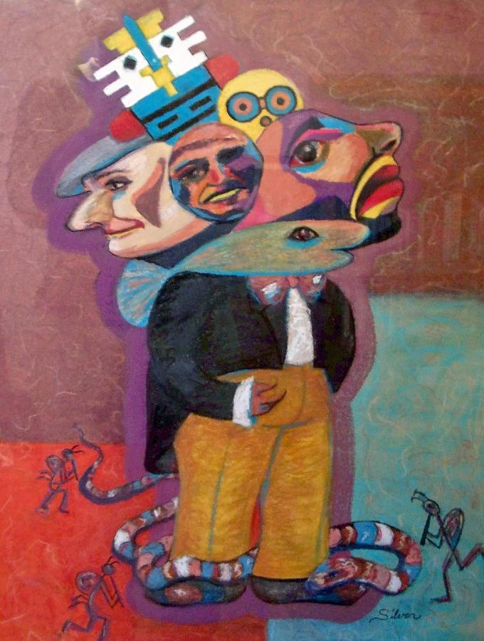 Pastel Painting - Kokopelli And Everyman by MtnWoman Silver