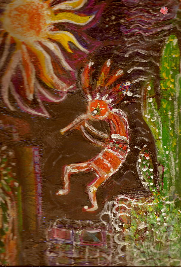 Sunny Painting - Kokopelli And The Sunny Moon by Anne-Elizabeth Whiteway