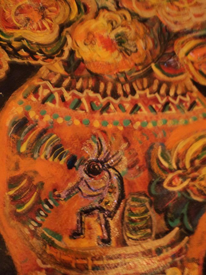 Kokopelli Painting - Kokopelli On Ornate Vase by Anne-Elizabeth Whiteway