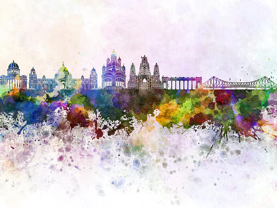 Kolkata Skyline In Watercolor Background Painting By Pablo