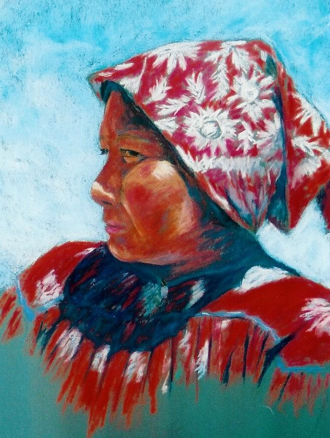 Portrait Painting - Konis Indian by Lou Baggett