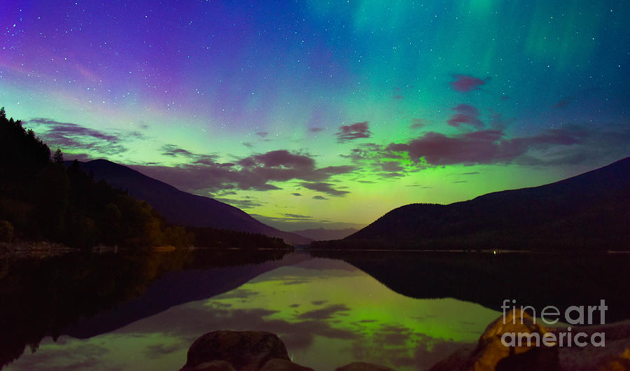 Northern Lights Photograph - Kootenay Lake Northern Lights by Joy McAdams