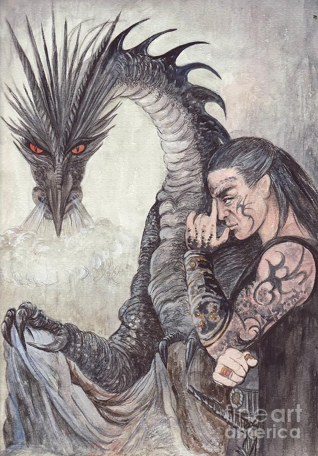 Black Painting - Kor-gat And Black Dragon by Morgan Fitzsimons
