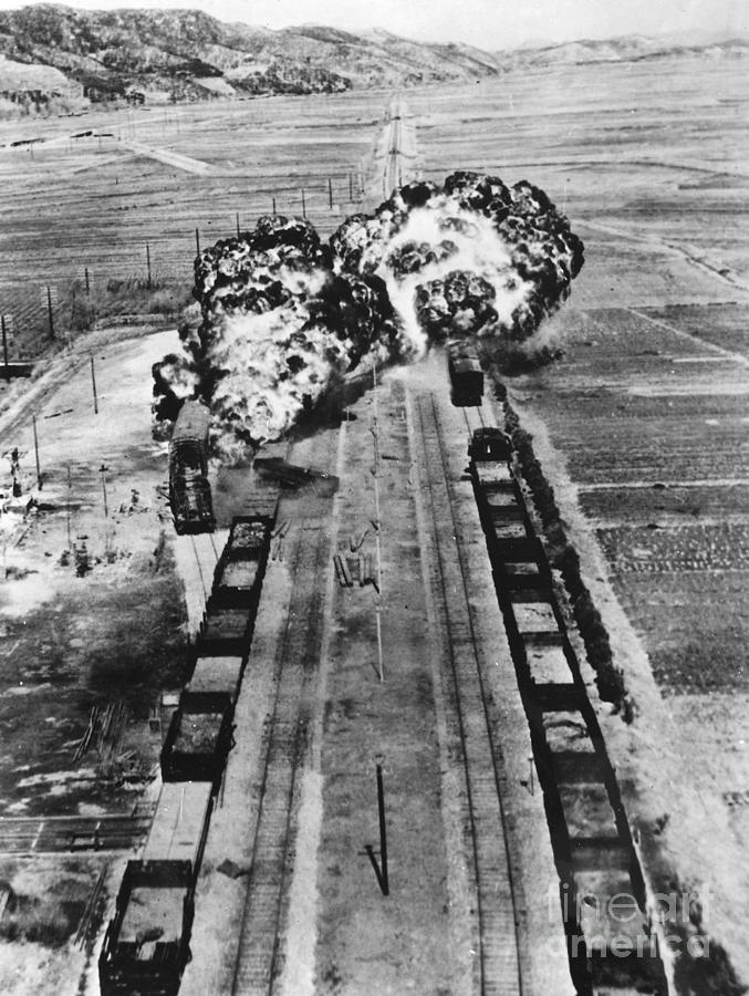 1950 Photograph - Korean War: Napalm Raid by Granger