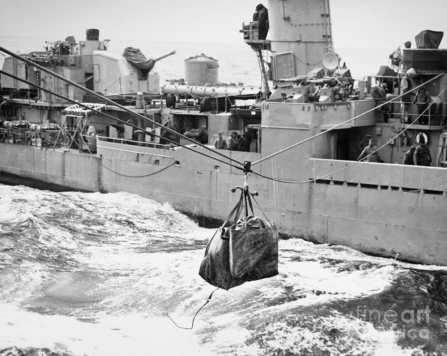 1953 Photograph - Korean War: Navy Mailbag by Granger