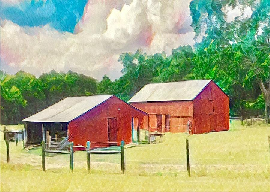 Red Barn Digital Art - Red Barn 2 by Wendy Biro-Pollard