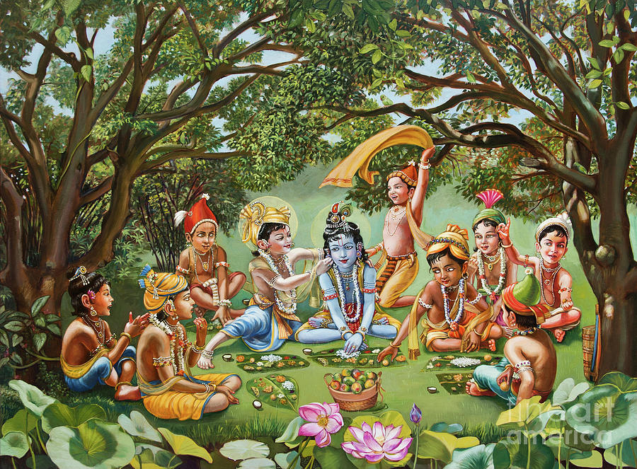 Oil Paintings Painting - Krishna Eats Lunch With His Friends With No Bordure by Dominique Amendola
