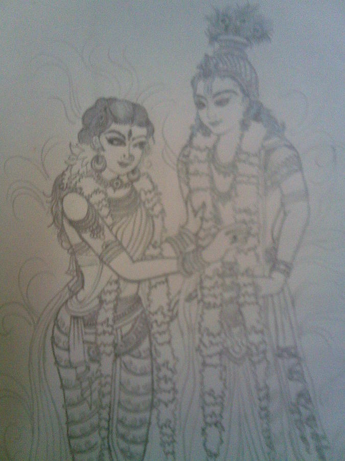Krishna Leela Drawing By Nischitha Shenoy