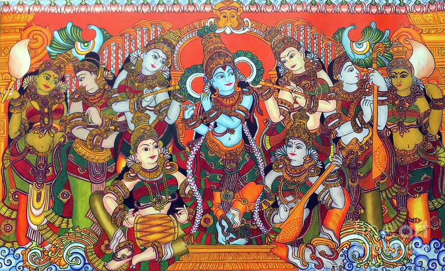 Krishna Leela Drawing By Sukanya Ramanathan