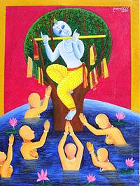 Tree Painting - Krishna Leela by V V Swamy