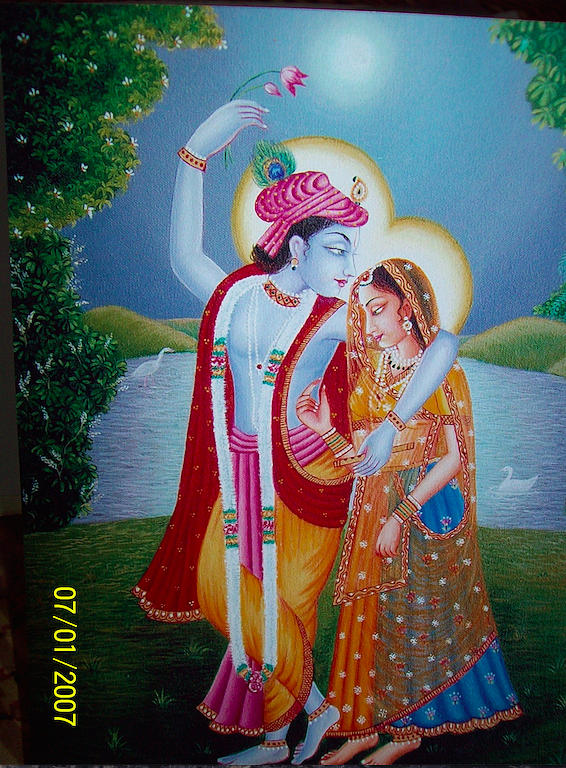 Krishna-radha In Garden - Full Moon Night