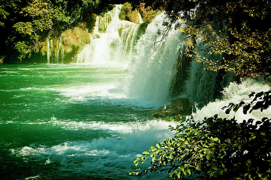 Krka Digital Art - Krka Waterfalls, Croatia Krka National Park by Luisa Vallon Fumi