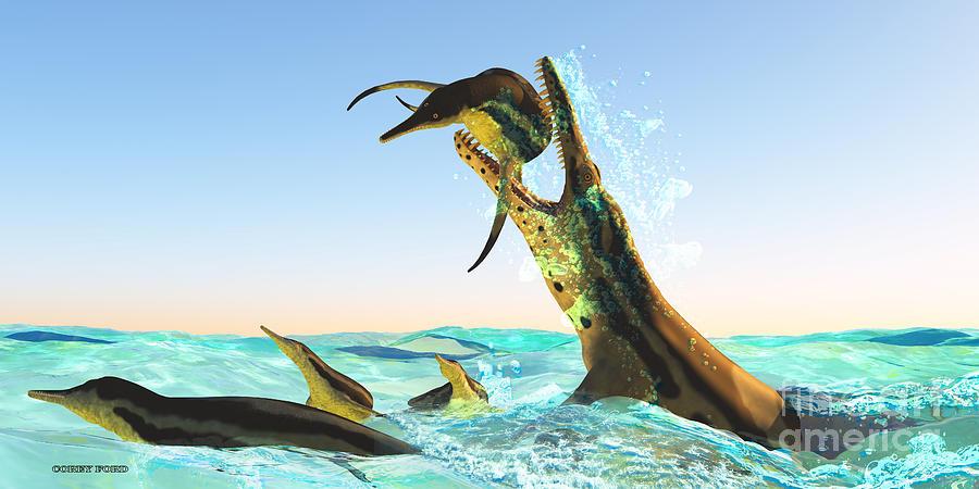 Kronosaurus Painting - Kronosaurus Marine Reptile Attack by Corey Ford