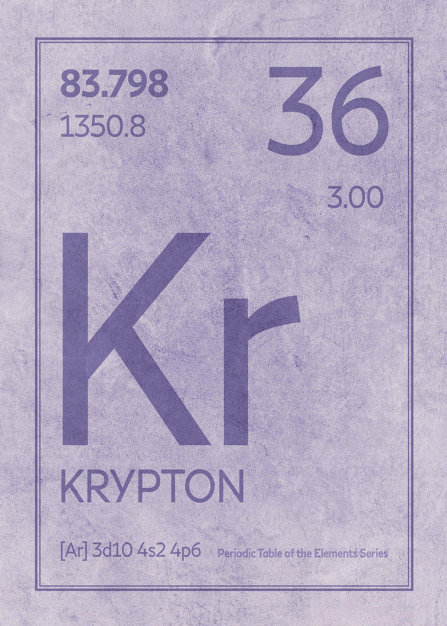 Krypton Element Symbol Periodic Table Series 036 Mixed Media By