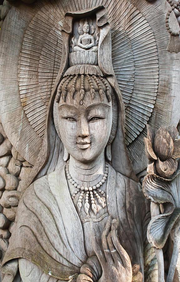 Antique Photograph - Kuan Yin  by Apatsara Sirirodchanapanya