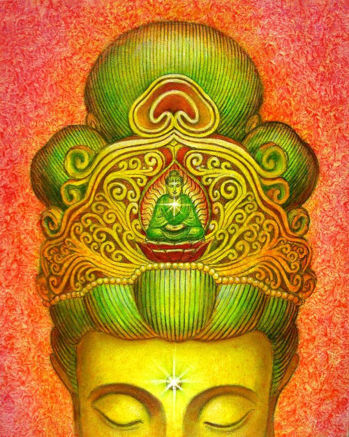 Kuan Yin Painting - Kuan Yins Buddha Crown by Sue Halstenberg