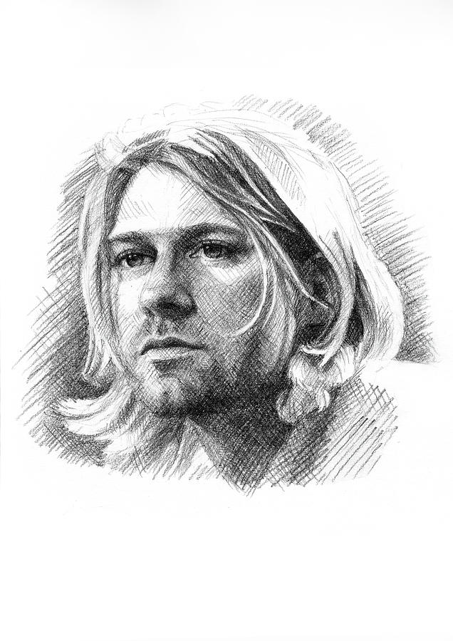 This is a graphic of Astounding Drawing Of Kurt Cobain