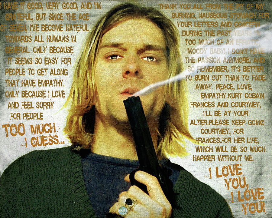 Kurt Cobain Nirvana With Gun And Suicide Note Painting Macabre 1 Painting