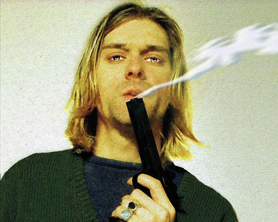 Kurt Cobain Nirvana With Gun Painting Macabre 1 Painting