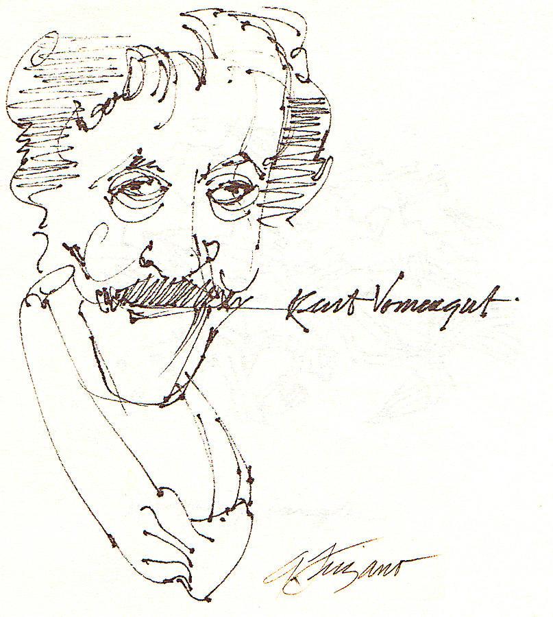 Kurt Vonnegut Drawing - Kurt Vonnegut by Donna Frizano Leonetti